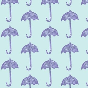 Rainy Days Vintage Umbrella (violet & lt. aqua)