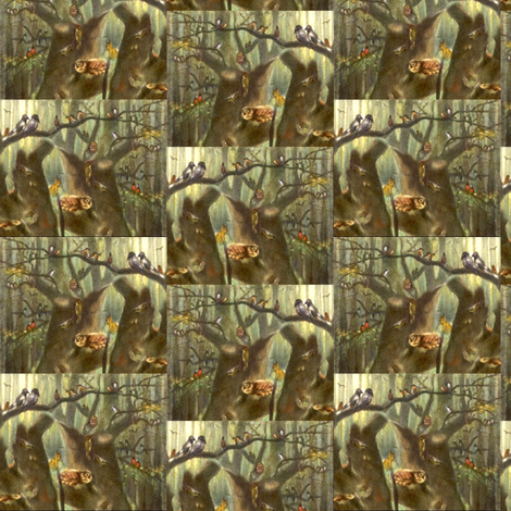 old_picture_of_forest_animals fabric by vinkeli on Spoonflower - custom fabric