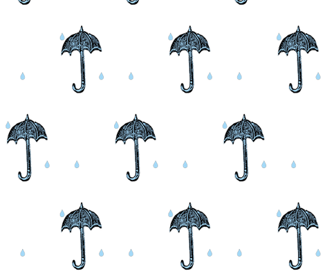 Rainy Days Vintage Umbrella (black, lt. aqua & white) fabric by pattyryboltdesigns on Spoonflower - custom fabric