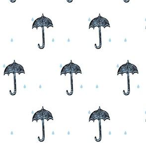 Rainy Days Vintage Umbrella (black, lt. aqua & white)