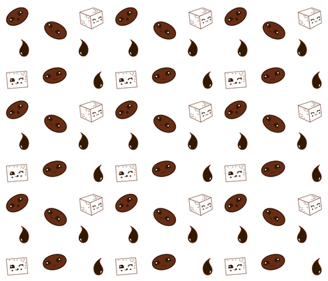 Kawaii Koffee fabric by verdigrisdye on Spoonflower - custom fabric