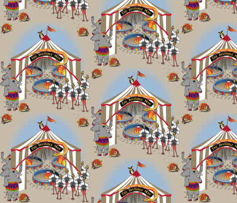 ©2011 Three Rings Under The Big Top - The Invisible Man  large fabric by glimmericks on Spoonflower - custom fabric