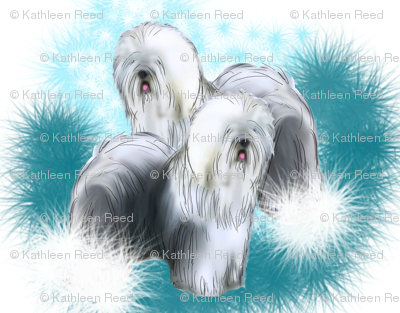 Old English Sheepdog Fabric