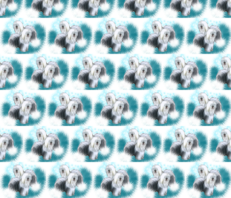 Old English Sheepdog Fabric  fabric by dogdaze_ on Spoonflower - custom fabric