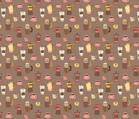 Pink and Percolators fabric by twoifbyseastudios on Spoonflower - custom fabric