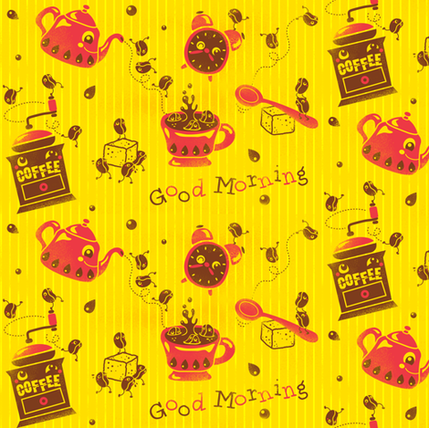 Happy Morning Coffee Beans - (please zoom in for details ^^ ) fabric by irrimiri on Spoonflower - custom fabric