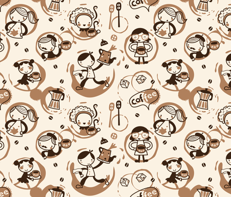 Coffee rings can be fun!!! fabric by bora on Spoonflower - custom fabric