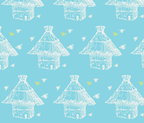Buzzz (aqua, lime & white) fabric by pattyryboltdesigns on Spoonflower - custom fabric