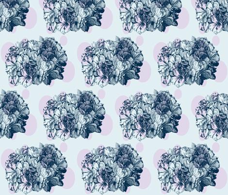 Dotty hydrangea lilac/sky blue