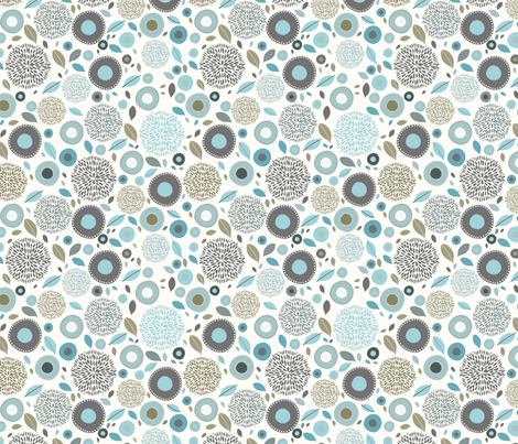 flo (blue) fabric by mondaland on Spoonflower - custom fabric