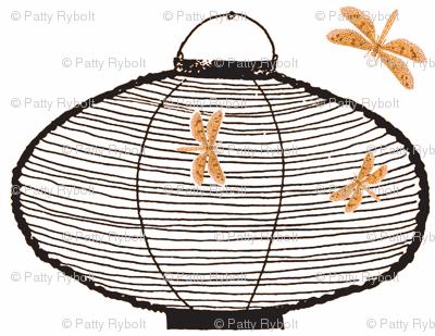 Bamboo lanterns and dragonflies (black & orange)