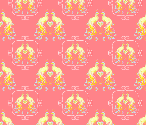 Peacocks Love Pink Lemonade fabric by mainsail_studio on Spoonflower - custom fabric
