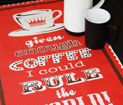 world coffee tea towel