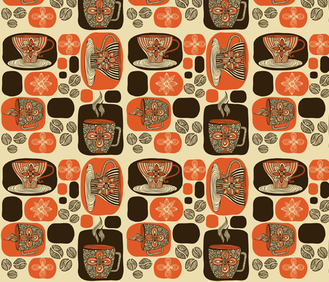 Retro Coffee fabric by valentinaharper on Spoonflower - custom fabric