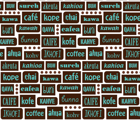 coffee 'round the world. LizArti fabric by lizarti on Spoonflower - custom fabric