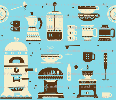 Coffee paraphernalia (colors being recalibrated for new printing method)