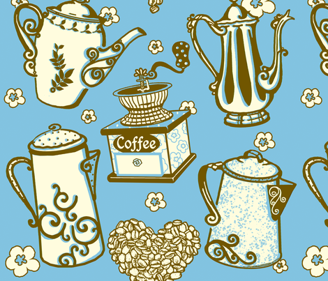 Coffee4U_ME_byTeresaMilburnKelly3color fabric by doodledoer on Spoonflower - custom fabric