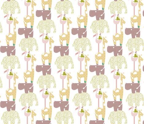 Spring Safari Tower (Hippo) - Vines fabric by ttoz on Spoonflower - custom fabric