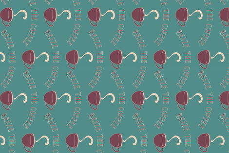 Seize the Coffee - bluegreen-175 - rotate fabric by mina on Spoonflower - custom fabric