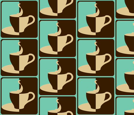 COFFEE_2__WAYS__aqua_ fabric by pavlovais on Spoonflower - custom fabric