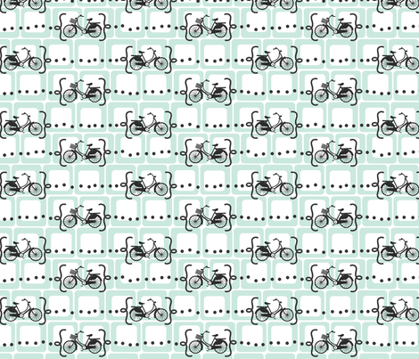 Ride a bike V2 in mint fabric by me-udesign on Spoonflower - custom fabric