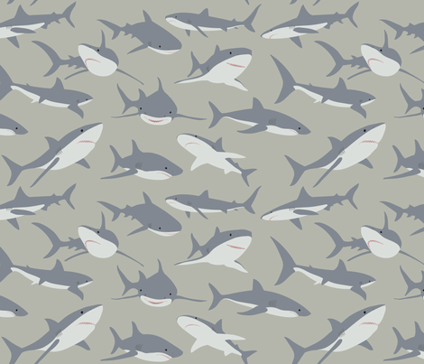 Sharks fabric by fattcheese on Spoonflower - custom fabric