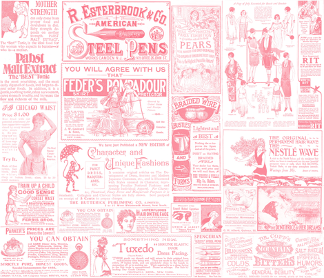 Old Ads Pink fabric by peagreengirl on Spoonflower - custom fabric