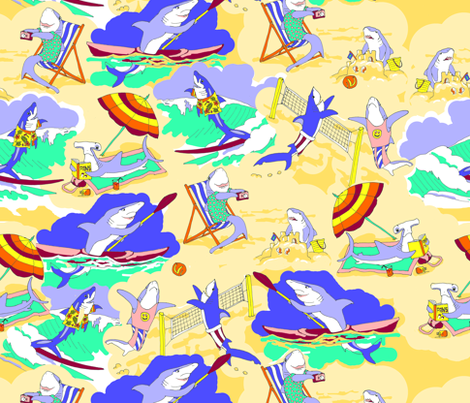 Sharks on the Beach 2 fabric by eclectic_house on Spoonflower - custom fabric