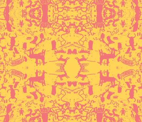petroglyphs- yellow fabric by dreamskyart on Spoonflower - custom fabric