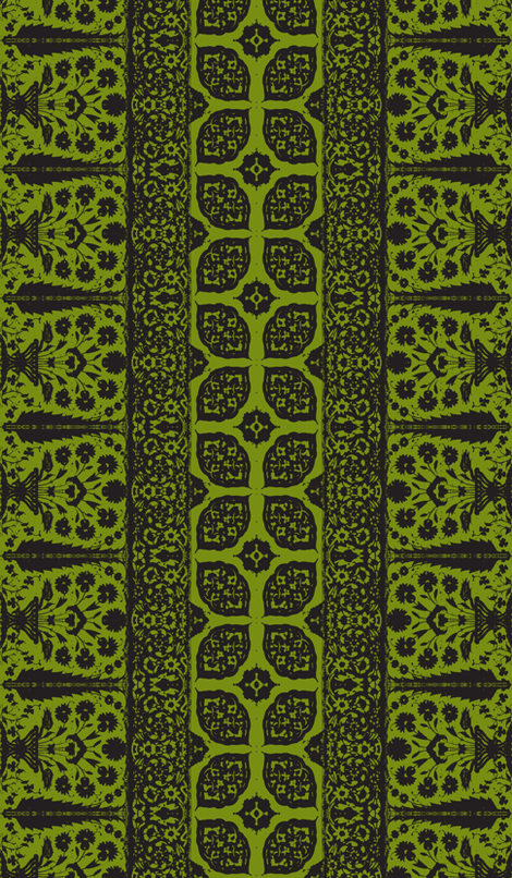 bosporus_tiles green black silk crepe de chine-ch