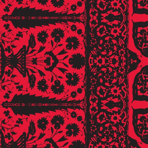 bosporus_tiles red black silk crepe de chine