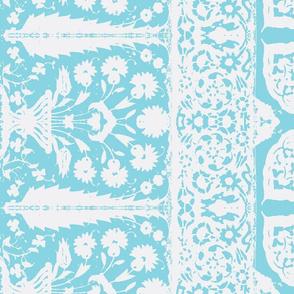 bosporus_tiles turquoise white silk crepe de chine