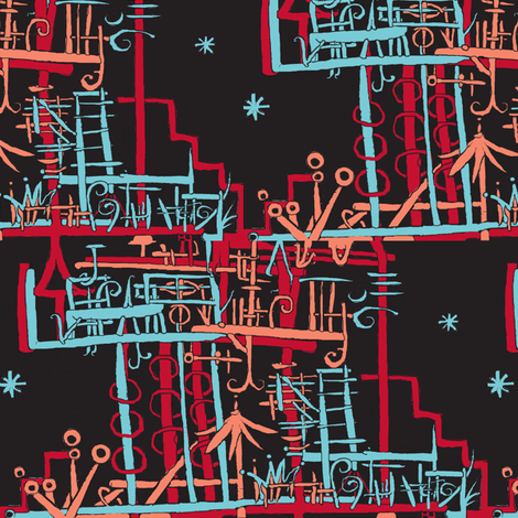 Long Island Beach House at Night fabric by boris_thumbkin on Spoonflower - custom fabric