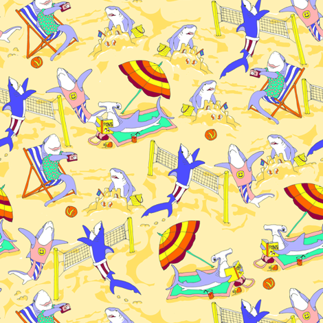 Sharks on the Beach fabric by eclectic_house on Spoonflower - custom fabric