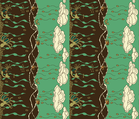 Coffee on the High Seas, teal fabric by thesummercountry on Spoonflower - custom fabric