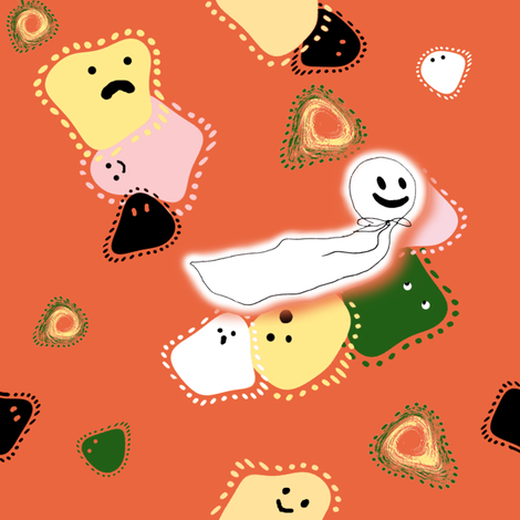 Halloween Ghost Parade fabric by kiniart on Spoonflower - custom fabric