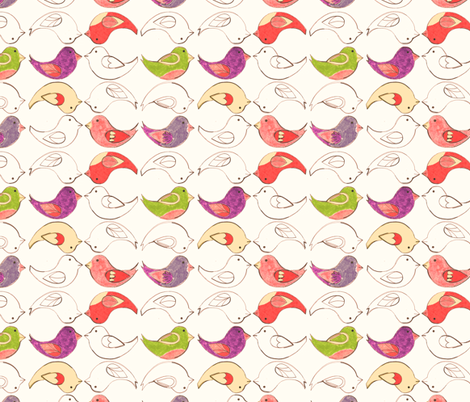 Crayon Birds  fabric by annadriel on Spoonflower - custom fabric