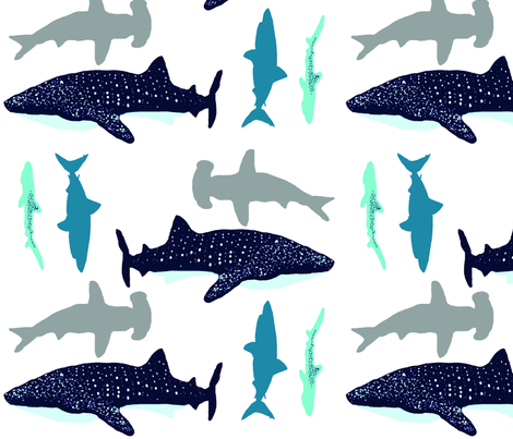 Sharks to the Left, Sharks to the Right fabric by studio13eleven on Spoonflower - custom fabric