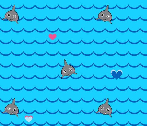 A Sharky You Can LOVE!  - © PinkSodaPop 4ComputerHeaven.com fabric by pinksodapop on Spoonflower - custom fabric