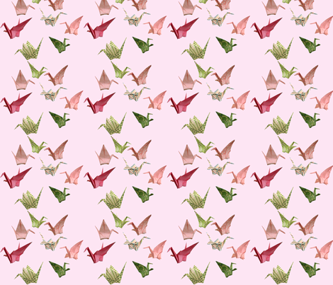 Pink Peace Crane Fabric - Miniprint Version fabric by amy_lou_who on Spoonflower - custom fabric