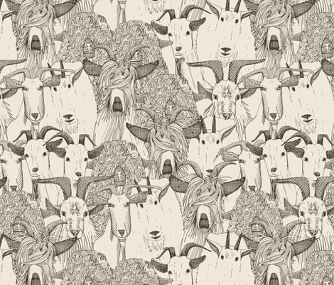 just goats natural fabric by scrummy on Spoonflower - custom fabric