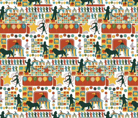 Silhouette Circus fabric by scrummy on Spoonflower - custom fabric
