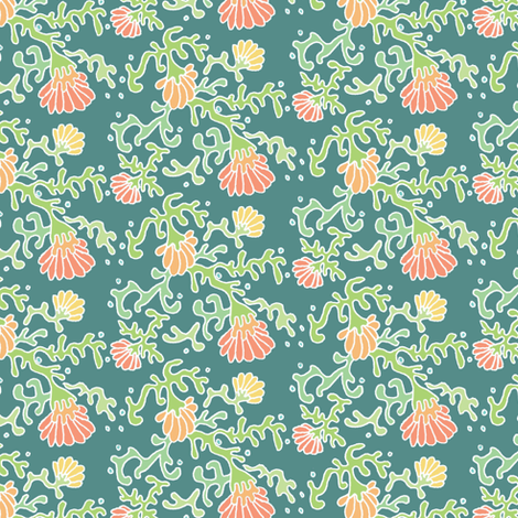 seaflowers green fabric by atomic_bloom on Spoonflower - custom fabric