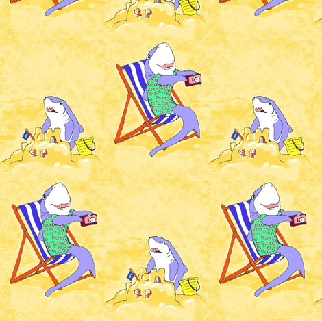 Sandcastle Sharks fabric by eclectic_house on Spoonflower - custom fabric