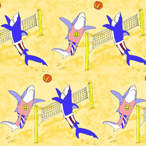 Volleyball Sharks fabric by eclectic_house on Spoonflower - custom fabric
