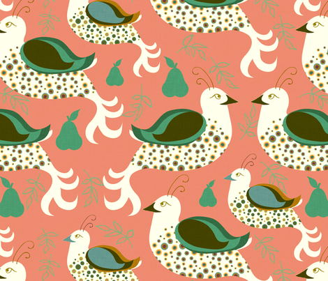 Partridges and Pears fabric by kezia on Spoonflower - custom fabric