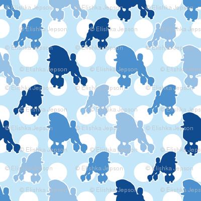 Blue Poodle Polka Dot
