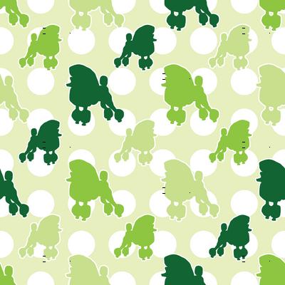 Green Poodle Polka Dot