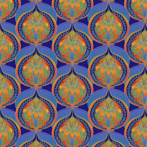 ©2011 Lily and Pomegranate-blue fabric by glimmericks on Spoonflower - custom fabric