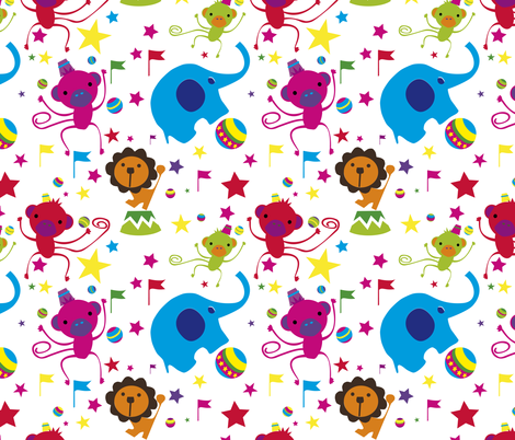 Juggling Monkeys tuttifrutti fabric by sol on Spoonflower - custom fabric